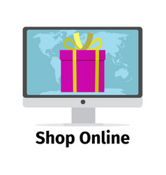 shop online concept with pink present vector image