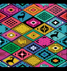 southwestern seamless pattern with deers buffalo vector image