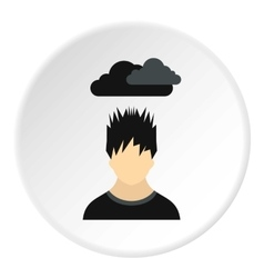 Male avatar and clouds over head icon flat style vector image vector image