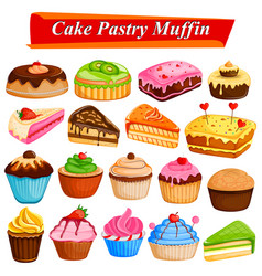 set of yummy assorted cakes and pastry food vector image