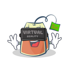 Tea bag character cartoon art with virtual vector