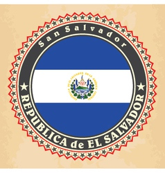 Vintage label cards of El Salvador flag vector image