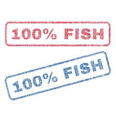 100 percent fish textile stamps vector