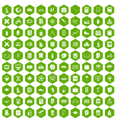 100 school icons hexagon green vector image