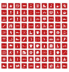 100 sport life icons set grunge red vector image