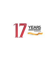 17 years anniversary template with red color vector