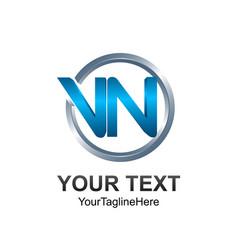 3d circle letter vn initial alphabet logo design vector image