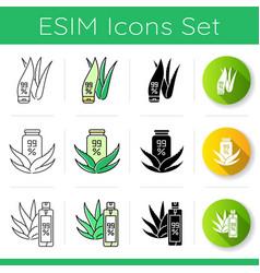 Aloe vera icons set lotion in tube with aloe vera vector