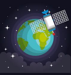 Artificial satellite orbit on planet earth vector