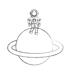 astronaut in saturn comic character icon vector image