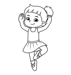 Ballerina girl practicing ballet bw vector