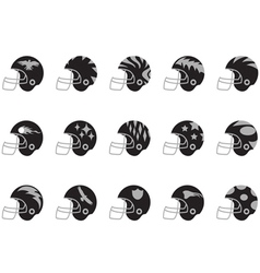 Black football helmet set vector