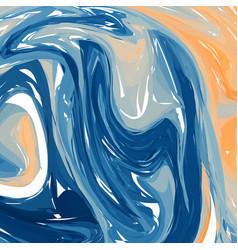 blue orange digital marbling elegant marbled vector image