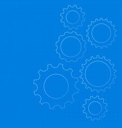 Blue technical gear diagram background vector