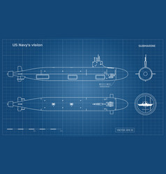 Blueprint of submarine military ship vector