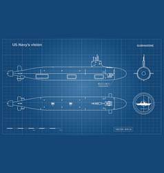 Blueprint submarine military ship vector