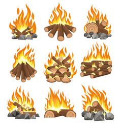 Bonfire firewood set vector