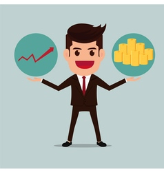 Business man with graph and money stacks vector image