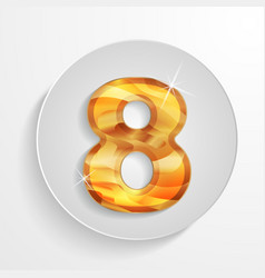 Button wood numbers 8 vector