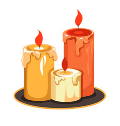 Candles on tray isolated icon melting wax vector