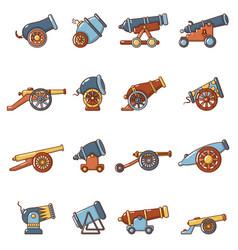 Cannon retro icons set cartoon style vector