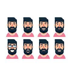 cartoon bearded man character with various facial vector image