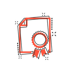 cartoon certificate icon in comic style diploma vector image