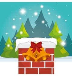 Chimney house christmas icon vector