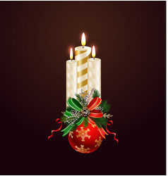 christmas candle combined width christmas tree vector image