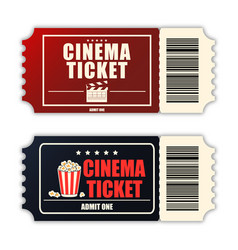 cinema ticket set template two realistic movie vector image