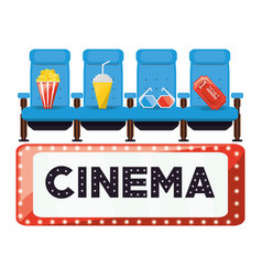 Cinema with comfortable chair and food with ticket vector