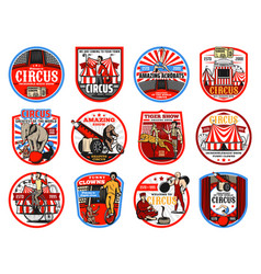 circus shapito retro icons entertainment vector image