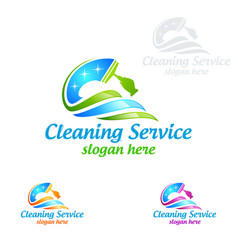 Cleaning service logo design eco friendly concept vector