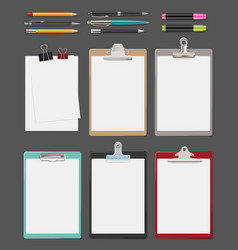 Clipboard office supplies blank sheet notes on vector