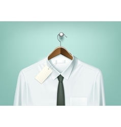 Coat Brown Hanger with White Shirt and Black Tie vector image