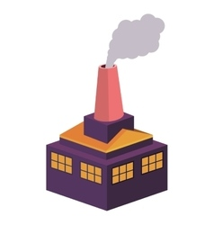 Colorful building industrial with fireplace vector