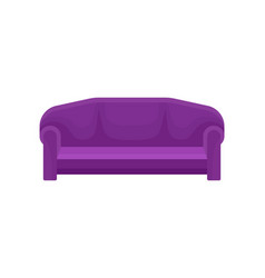 Comfortable sofa purple couch living room vector