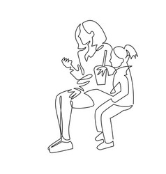 Continuous single drawn one line mom with daughter vector