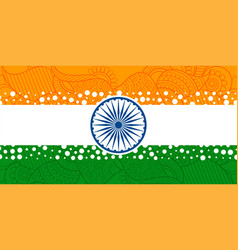 creative indian flag with with ethnic paisley vector image