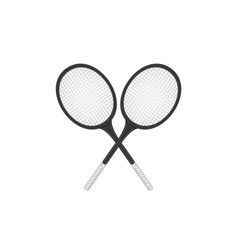 crossed tennis rackets in retro design vector image