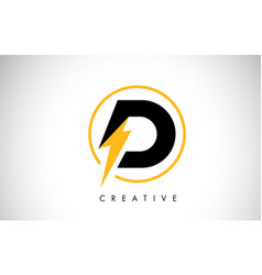 D letter logo design with lighting thunder bolt vector