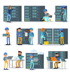 data center working people set vector image