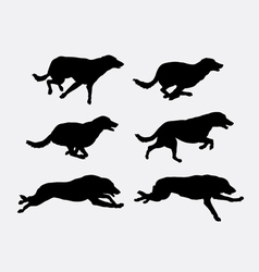 Dog running pet animal silhouette vector image