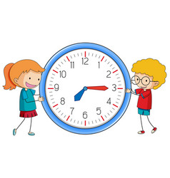 Doodle boy and girl with clock vector