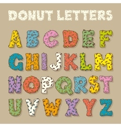 English Alphabet in Donut Style Color Font vector image