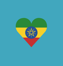ethiopia flag icon in a heart shape in flat design vector image