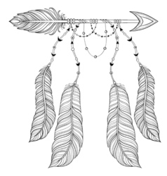 ethnic Arrow with bird feathers boho style concept vector image