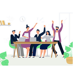 Excited office workers team successful managers vector