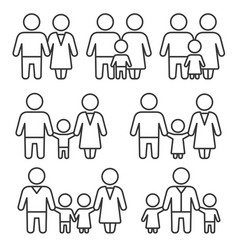family icons set on white background line style vector image