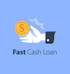 fast cash loan credit approval easy wage open vector image